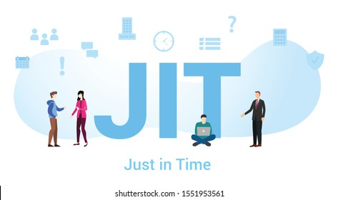 jit just in time concept with big word or text and team people with modern flat style - vector