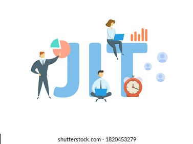 JIT, Just In Time. Concept with keyword, people and icons. Flat vector illustration. Isolated on white background.