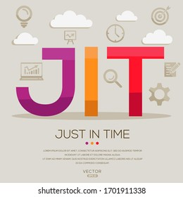JIT mean (just in time) ,letters and icons,Vector illustration.
