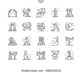 Jiu jitsu. Punch face. Protection position. Karate, fighter, sport, taekwondo and fight. Pixel Perfect Vector Thin Line Icons. Simple Minimal Pictogram