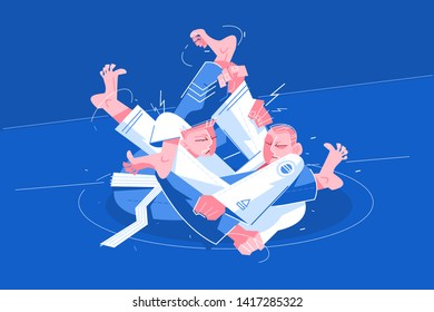 Jiu-Jitsu athletes fighting vector illustration. Two fighters on arena going for choke with legs blocked and held flat style design. Martial Arts concept