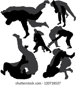 Jiu-Jitsu and Judo wrestlers vector silhouettes on white background. Layered. Fully editable. Can be transformed in completely black silhouettes