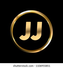 JJ initial circle company logo gold black background