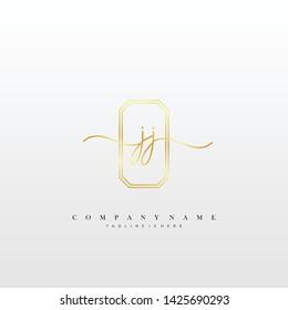 JJ initial handwriting logo template vector