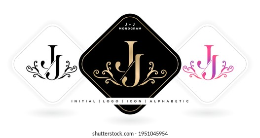 JJ initial letter and graphic name, JJ Monogram for Wedding couple symbolic title, logo company and icon business, with three color variation designs with isolated background. illustration brand name
