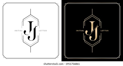 JJ initial letter and graphic name, JJ Monogram, for Wedding couple title, logo company and icon business, with three colors variation designs of isolated white and black backgrounds.