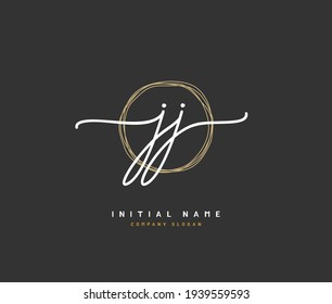 JJ Initial letter handwriting and  signature logo. A concept handwriting initial logo with template element.