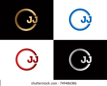 JJ Logo. Letter Design Vector with Red and Black Gold Silver Colors