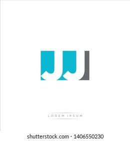 JJ Logo Letter with Modern Negative space - Light Blue and Grey Color EPS 10