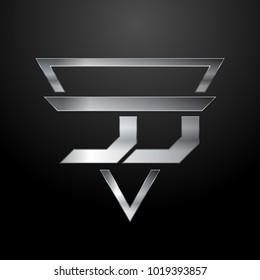 JJ Logo, Metal Logo, Silver Logo, Monogram, Polygon