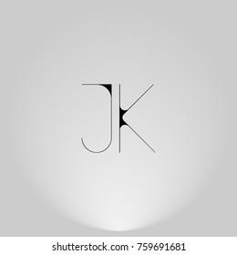 JK Black thin minimalist LOGO Design with Highlight on Gray background.