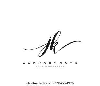 JK handwriting initial  logo vector