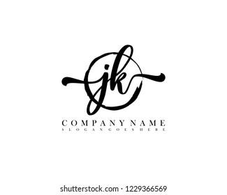 JK initial handwriting logo circle template vector