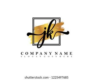 JK Initial handwriting logo concept