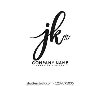 JK Initial Handwriting Logo Template Vector