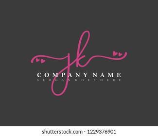 JK Initial handwriting logo vector