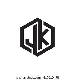 JK initial letters looping linked hexagon monogram logo
