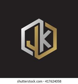 JK initial letters looping linked hexagon elegant logo golden silver black background