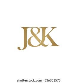 J&K Initial logo. Ampersand monogram golden logo