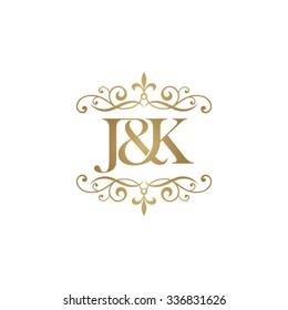 J&K Initial logo. Ornament ampersand monogram golden logo