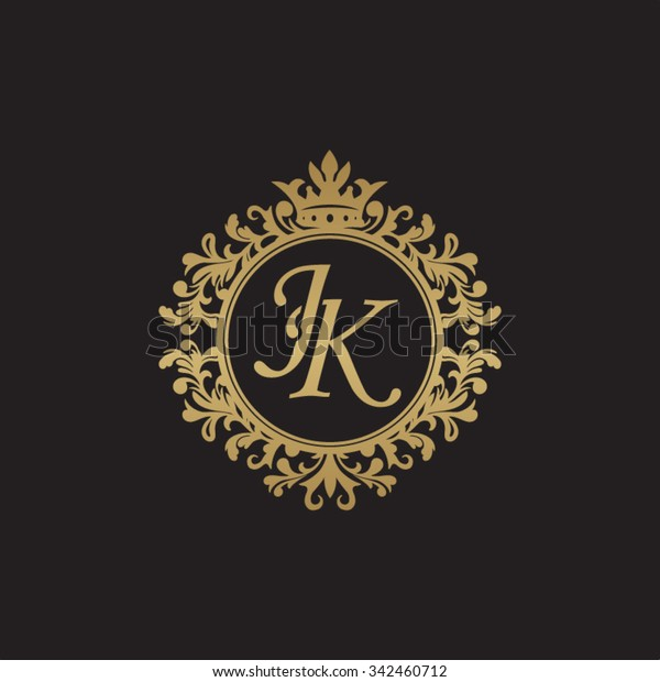 Golden Luxury Logotype Template: Jk Initial Luxury Ornament Monogram Logo Stock Vector