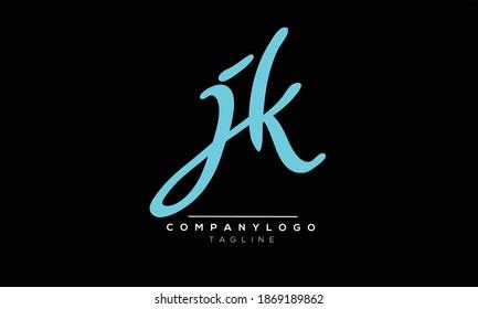 JK initials monogram letter text alphabet logo design