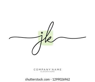 JK J K Initial handwriting logo template