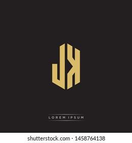 JK J K Logo Emblem Hexagon Capital Letter Modern Template