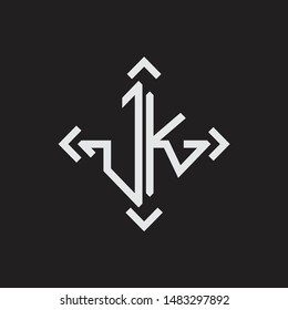JK Logo Abstrac letter Monogram with Arrow in every side isolated on black background