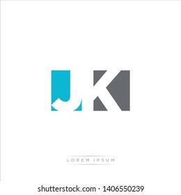 JK Logo Letter with Modern Negative space - Light Blue and Grey Color EPS 10