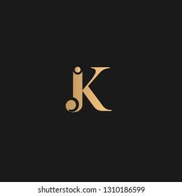 JK Logo Vector. Golden JK logo on black background