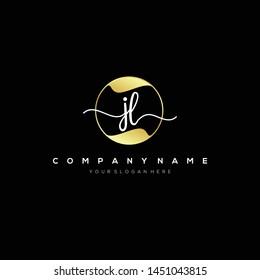 JL handwriting initial logo template vector.