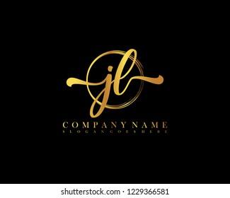 JL initial handwriting logo circle template vector