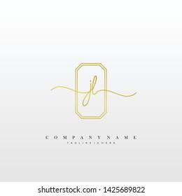 JL initial handwriting logo template vector