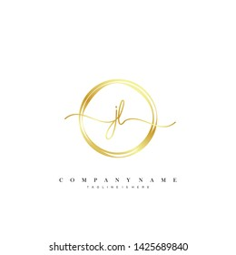 JL initial handwriting logo template vector