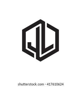 JL initial letters looping linked hexagon monogram logo