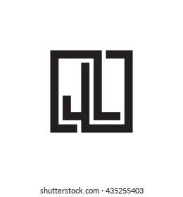 JL initial letters looping linked square monogram logo