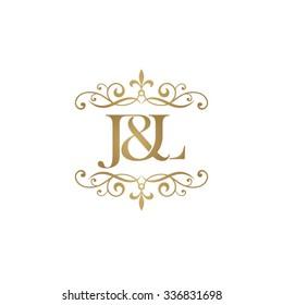 J&L Initial logo. Ornament ampersand monogram golden logo