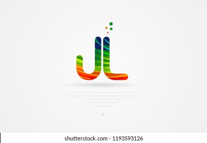 jl j l alphabet letter logo icon combination design with rainbow color