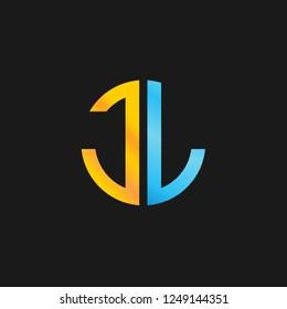 JL or J L letter alphabet logo design in vector format.