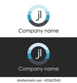 JL letter a circle shape icon logo white blue