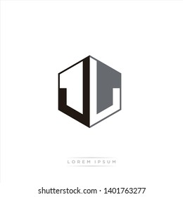 JL Logo Initial Monogram Negative Space Design Template With Black and Grey color