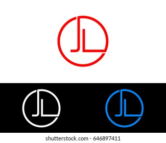 Jl Logo. Letter Design Vector with Red and Black Gold Silver Colors