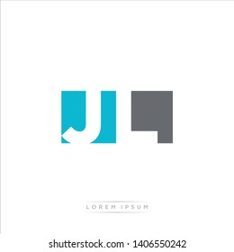 JL Logo Letter with Modern Negative space - Light Blue and Grey Color EPS 10