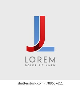 "JL logo letters with ""blue and red"" gradation"