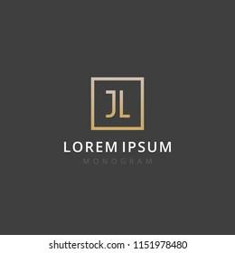 JL. Monogram of Two letters J & L. Luxury, simple, stylish and elegant JL logo design. Vector illustration template.