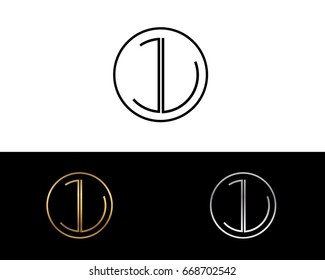JL round circle shape initial letter logo