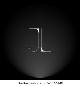 JL White thin minimalist LOGO Design with Highlight on Black Background.