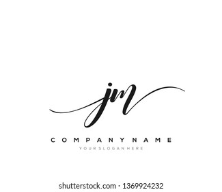 JM handwriting initial  logo vector