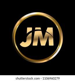 JM initial circle company logo gold black background